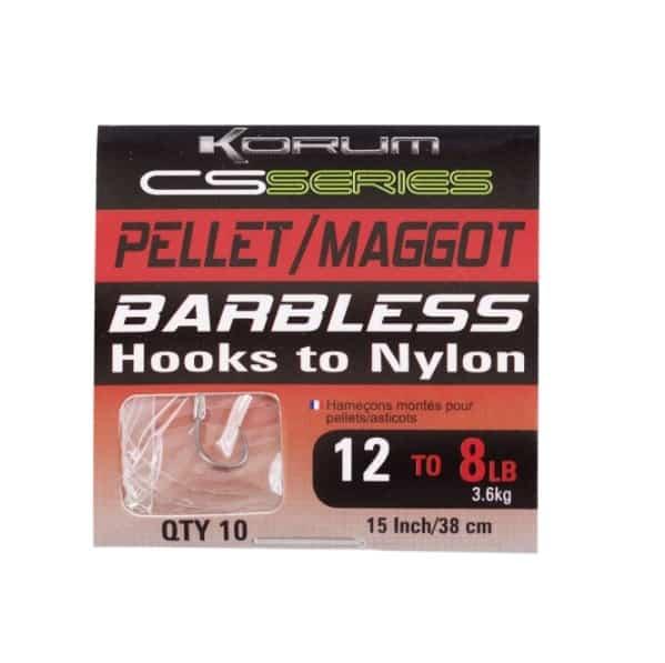 KORUM BARBLESS HOOKS TO NYLON - PELLET/MAGGOT (KCSHNPM)