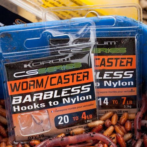KORUM BARBLESS HOOKS TO NYLON - WORM/CASTER (KCSHNWC)